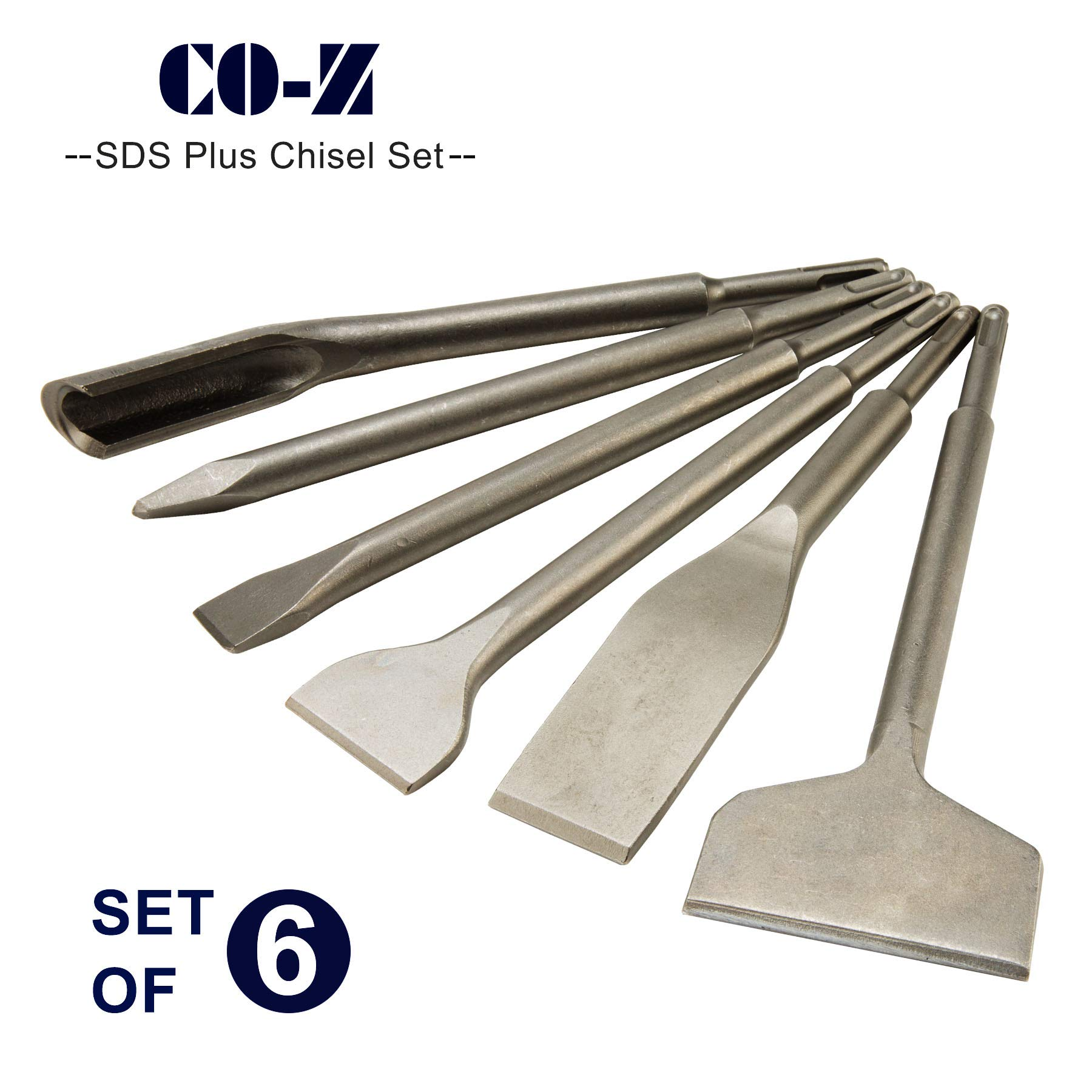 CO-Z SDS Plus Hammer Drill Chisel Set, Rotary Hammer SDS Bits Set 6pcs Including Tile Chisel, Gouge Chisel, Wide Chisel x 2, Flat Chisel, Point Chisel. by CO-Z (Image #6)