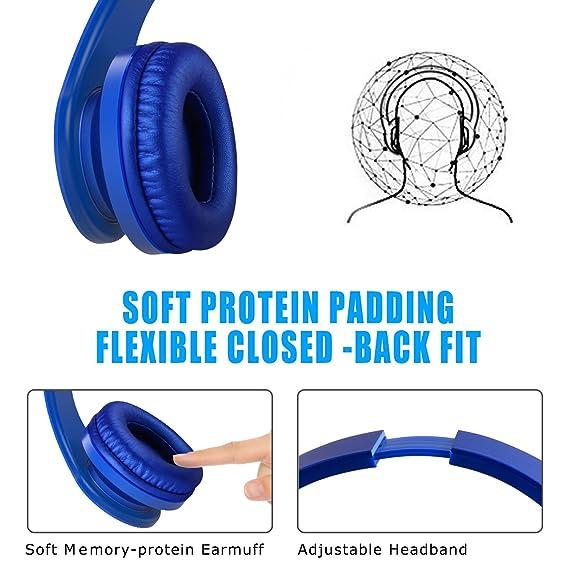 Bluetooth Auriculares, lobkin over Ear Wireless Bluetooth Auriculares plegable inalámbrico on Auriculares In-Ear con micrófono TF/Micro SD/FM Radio azul ...