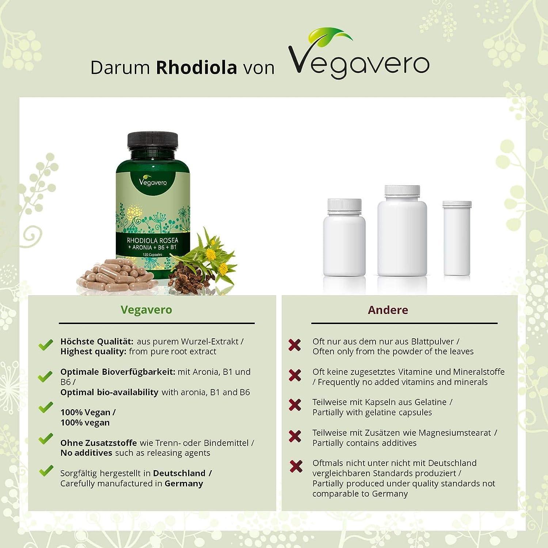Rhodiola Rosea | FÓRMULA ÚNICA: Con Aronia + Vitaminas B6 + B1 | Energía + Concentración + Memoria + Estrés + Ansiedad | TESTADO EN LABORATORIO | 120 ...