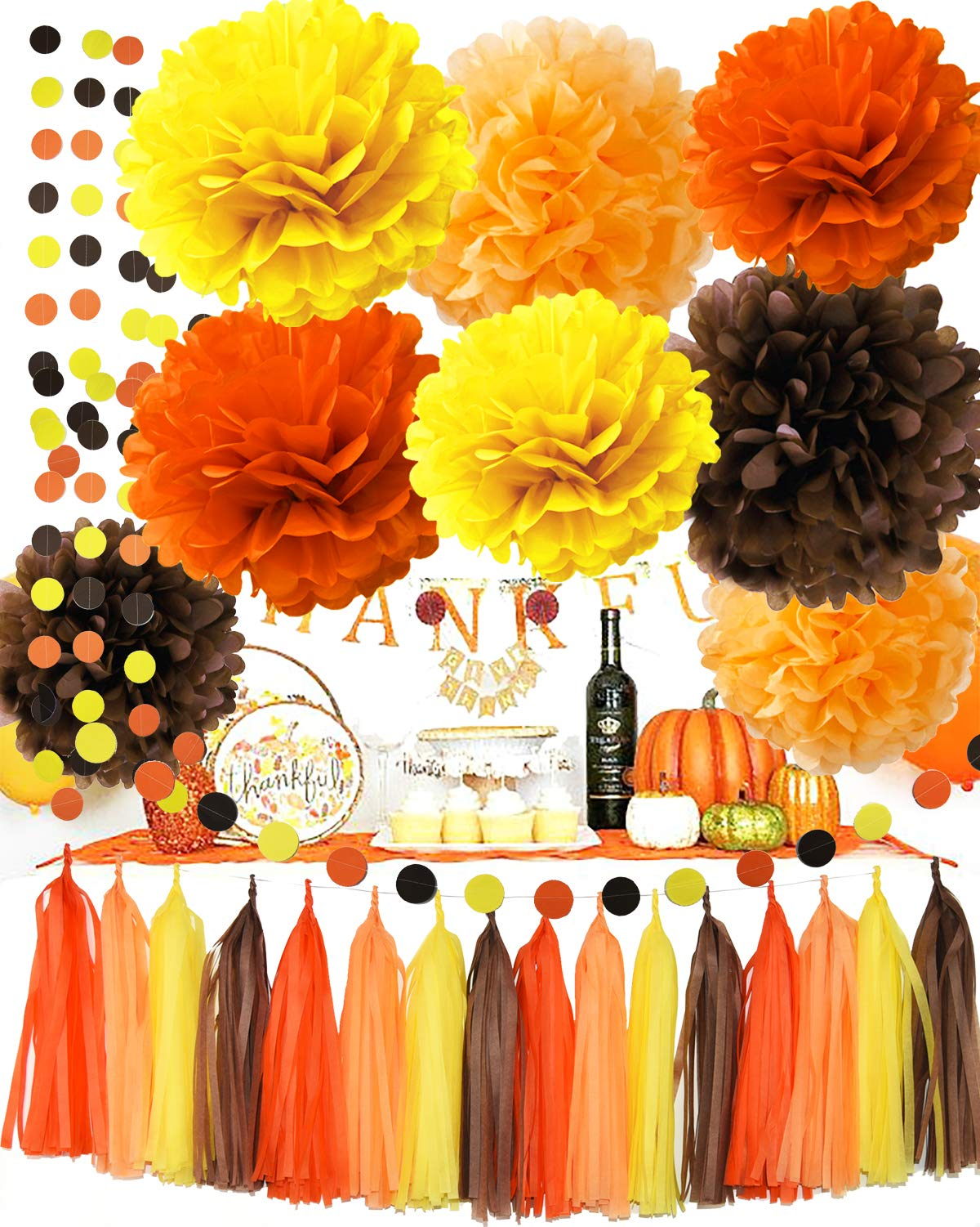 Fall Party Supplies/Thanksgiving Party Decorations Yellow Orange Brown Pumpkin Color Tissue Pom Pom Tassel Garland for Fall Birthday Party/Autumn Party Decorations/Autumn Wedding, Fall Themed Decor by Qian's Party