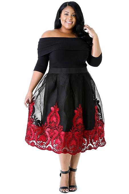 New Womans Plus Size Black Red Off Shoulder Tulle Skirt Skater