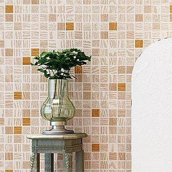 Non Woven Tapete Modern Minimalistic 3D Mosaik Wohnzimmer Schlafzimmer TV  Hintergrundbild, Orange Yellow