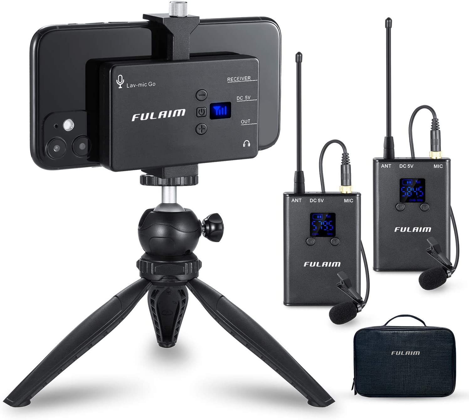 Mini Wireless Lavalier Microphone System LENSGO LWM-318C 20-Channel UHF Professional Omnidirectional Wireless Lapel Mic with 1 Transmitter /& 1 Receiver for Canon Nikon DSLR Camera Smartphone and More