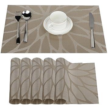 Fontic 6er Set Platzsets 30x45cm Platzdeckchen Rutschfest Abwaschbar Tischmatten PVC Abgrifffeste Hitzebeständig Tischsets, P