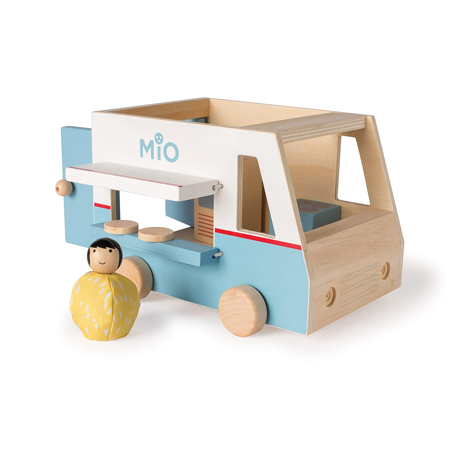Manhattan Toy MiO Wooden Toy Airplane + 1 Bean Bag Person Peg Pilot Doll - 2 Piece Imaginative Play Kit by