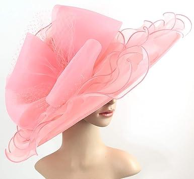c3eec1e3 Light Coral Kentucky Derby Hat Wide Brim Womens Dress Hat Tea Party ...