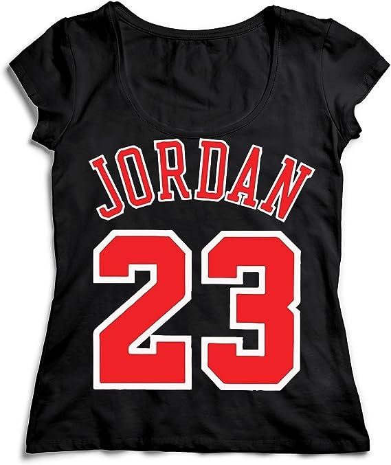 MYMERCHANDISE Jordan 23 Number Basketball T-Shirt Camiseta Shirt para la Mujer Camisa Negra Womens Women Tshirt 100% Algodón Regalo De Cumpleaños Navidad Mujer: Amazon.es: Ropa y accesorios