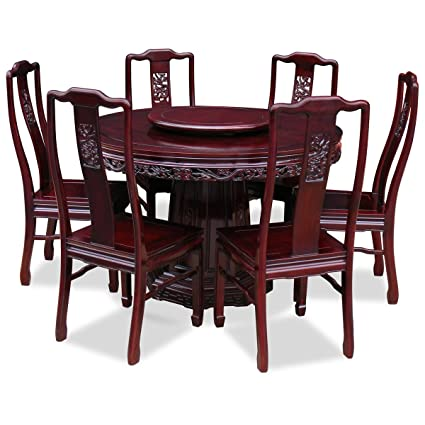 Amazon.com - Hand Crafted 48in Rosewood Dragon Design Round ...