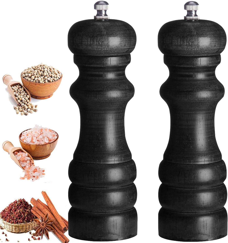 Pepper Spice Salt Mill Shaker Grinder Solid Wood with Adjustable Grinders(6.5inch)