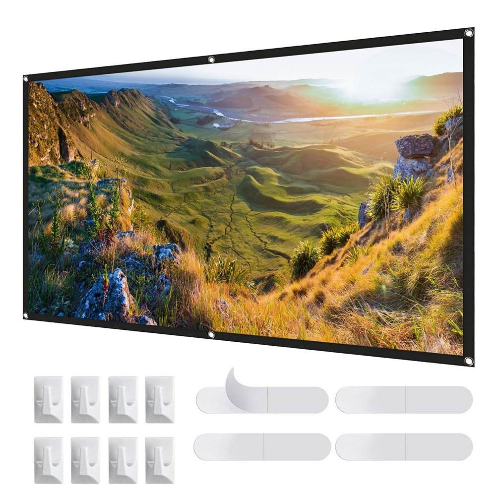 Taacoo 100 inch Projector Screen 16:9 HD Portable Foldable Anti-crease Projection Screen for Indoor Outdoor Home Theater Movie Party Support Double Sided Projection