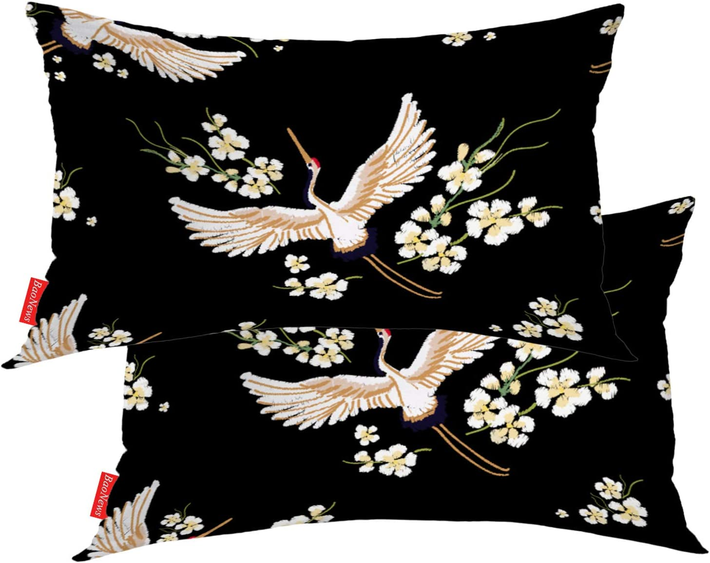 Baonews Colorful Pillow Covers Oriental Tropical Leafs Flowers On Black Lumbar 12 X 20 Inches Decorative Throw Pillow Covers Cotton Cushion For Sofa Bedroom Car White 04 Set Of 2 Home Kitchen