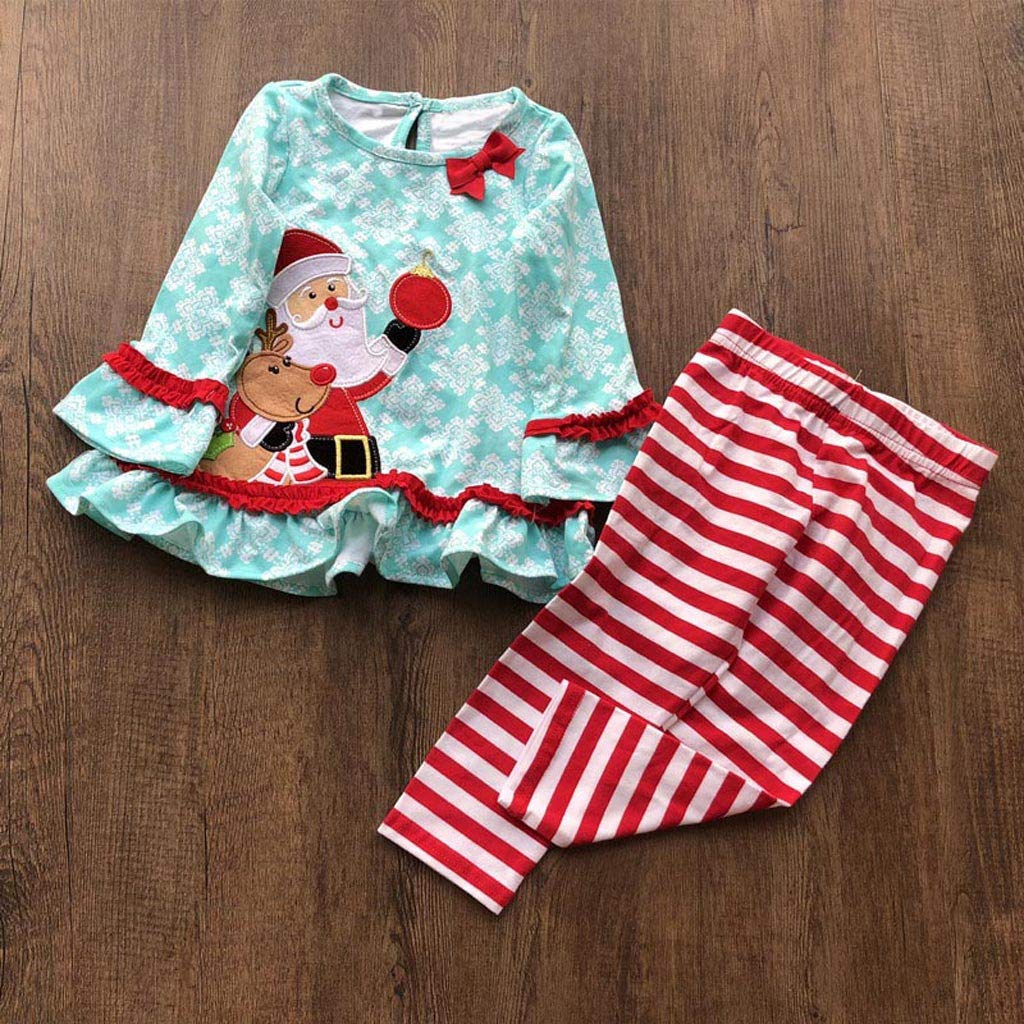 WARMSHOP Christmas Outfits for Toddler Baby Girls 0-4T