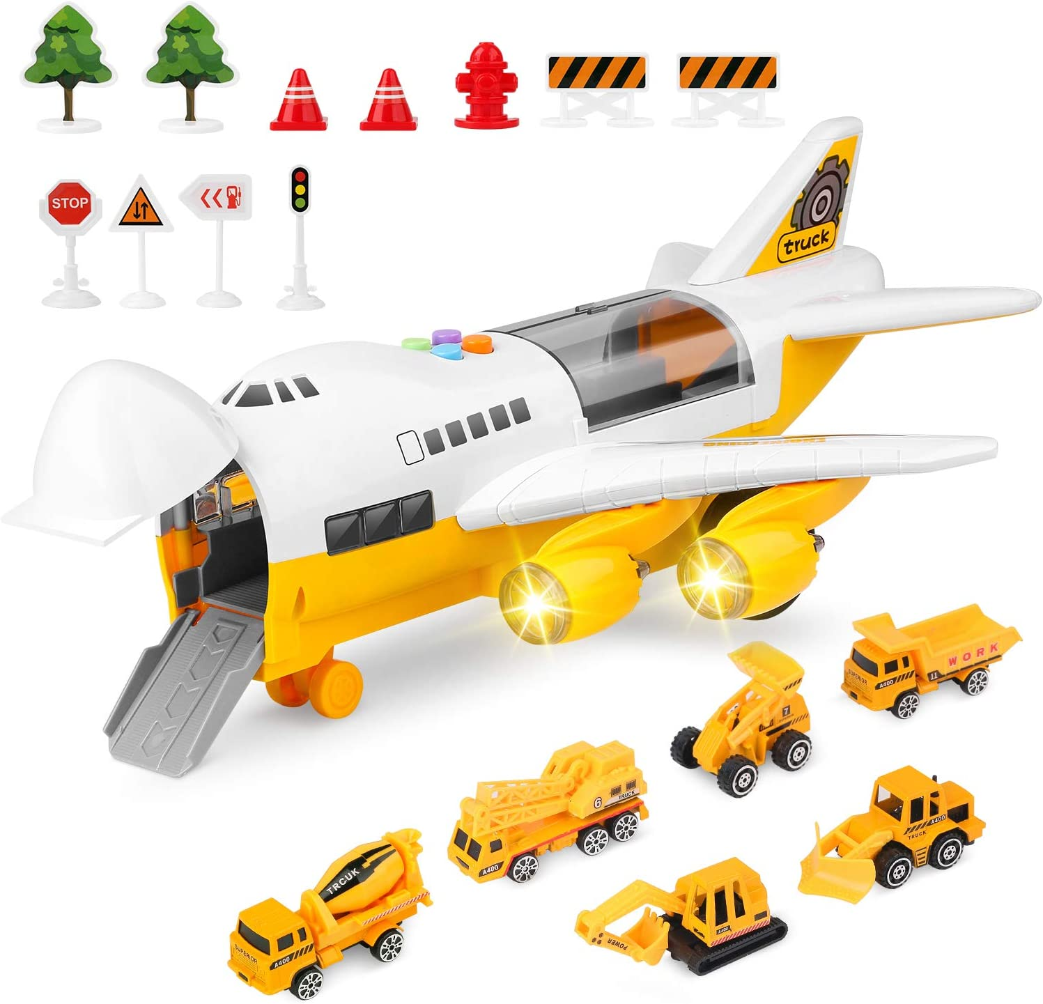 Car Toys Set yellow engineering truck 11Road Signs Large Plane Engineering Vehicles for Girls Toddler Boys Girls Age 3+ Educational Vehicle Fire Truck Transport Airplane Toy,4 Alloy Police Car