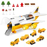 BAZOVE Car Toys Set with Transport Cargo Airplane, Mini Educational Vehicle Construction Car Set for Kids Toddlers Boys Child