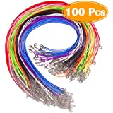 Paxcoo 100 Pcs 18 Inches Waxed Cotton Necklace Cord with Lobster Claw Clasp for DIY Jewelry Making, Mix Color