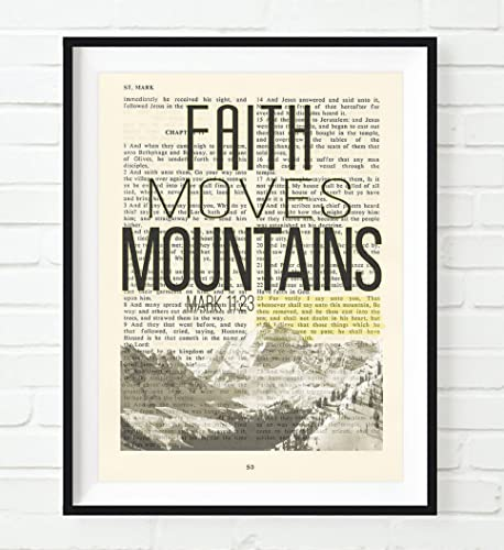Faith Moves Mountains - Mark 11:23 Christian UNFRAMED reproduction Art  PRINT, Vintage Bible verse scripture wall & home decor poster,  Inspirational