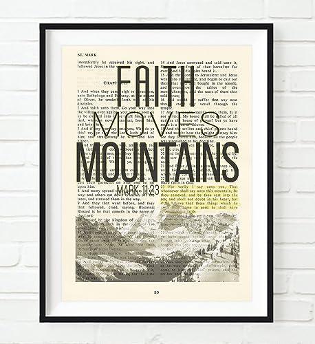 Amazon faith moves mountains mark 1123 christian unframed faith moves mountains mark 1123 christian unframed reproduction art print vintage bible negle Gallery