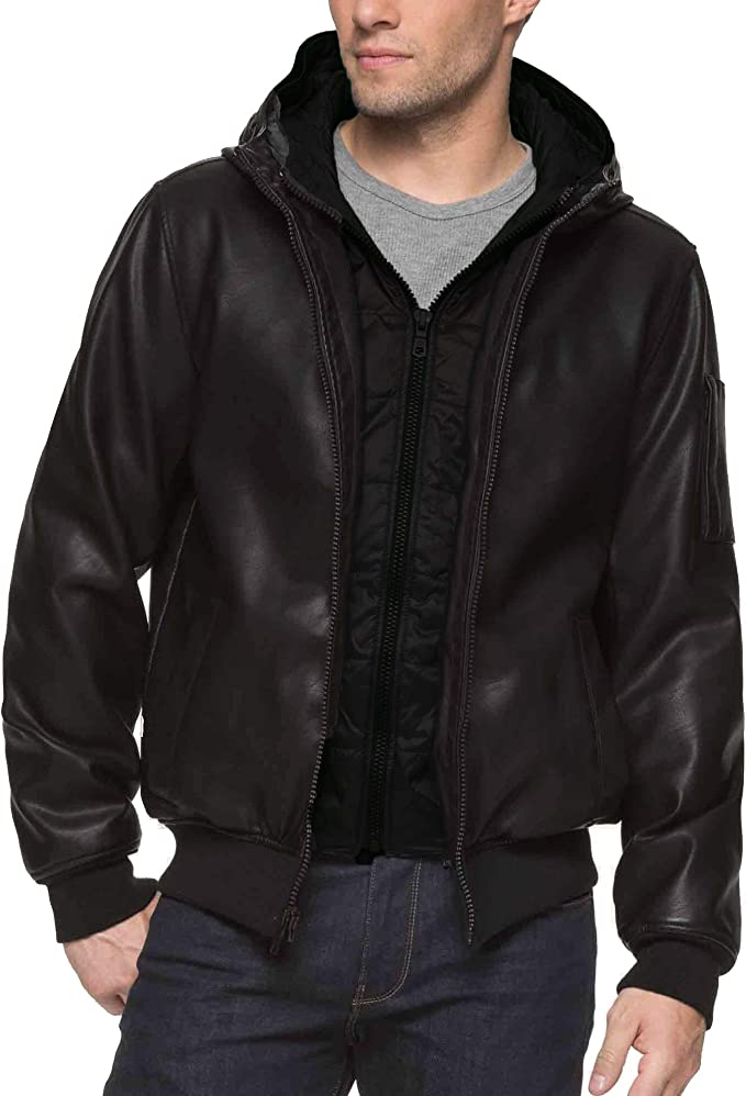 Tommy Hilfiger Men's Big and Tall Smooth Faux Leather Bomber Jacket with Double Hood