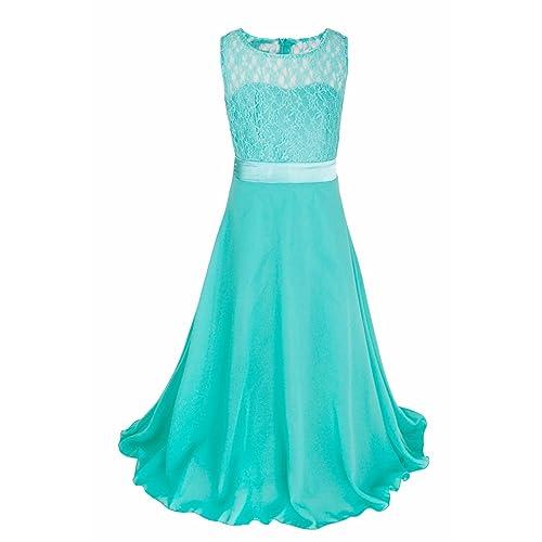 iEFiEL Big Girls Lace Chiffon Flower Girl Dress Wedding Prom Dance Ball Party Maxi Gown