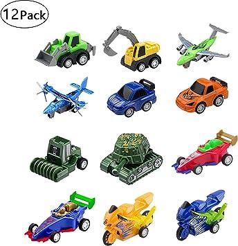 12 Piezas Coches de Juguetes Vehiculos Mini Excavadora,2 VehíCulos de IngenieríA,2 Aviones,2 Motocicletas,2 Autos ...