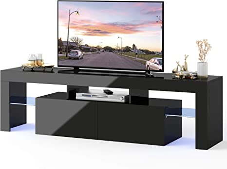 Amazon Com Wlive Entertainment Center For 65 Inch Tv Modern Tv Stand With Led Light For 50 55 Inch Flat Screen Media Console With 2 Storage Drawers For Living Room Bedroom Electronics