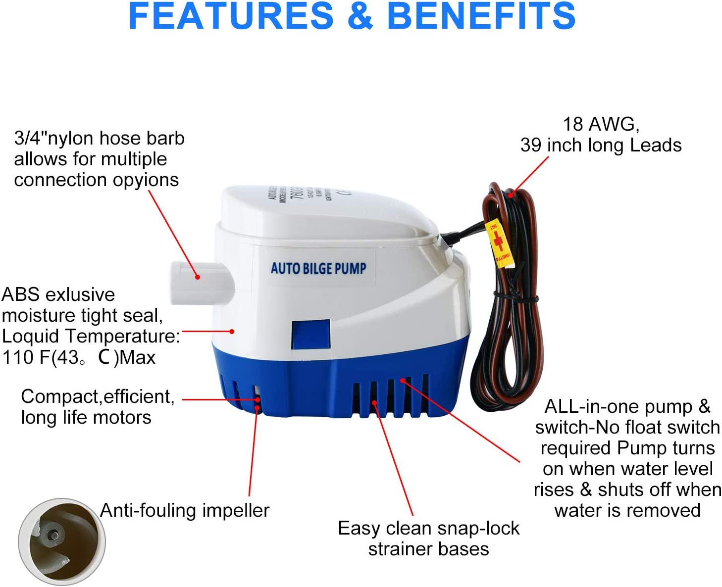 no separate float switch needed Kimddt 12V 750 GPH Automatic Bilge Water Pump Fully Automatic Submersible Electric Pump 3A with built in float switch system