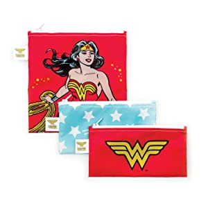Bumkins DC Comics Wonder Woman Sandwich Bags/Snack Bags, Reusable, Washable, Food Safe, BPA Free, Pack of 3