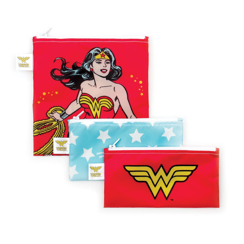 Bumkins 3 Piece DC Comics Reusable Snack Bag, Wonder Woman
