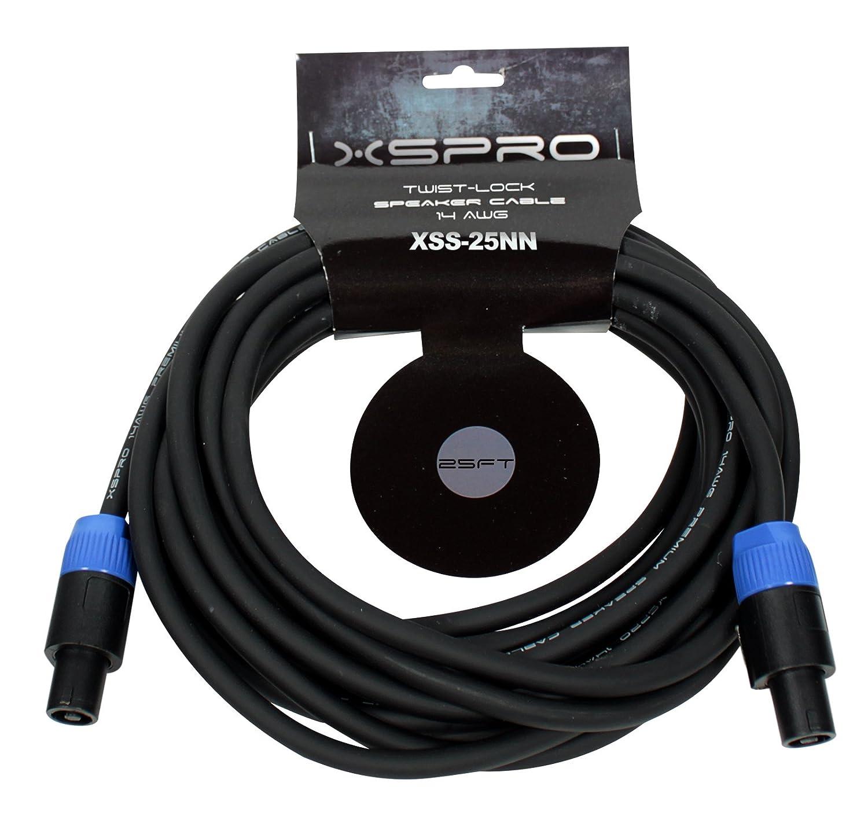 XSPRO 25 ' 14 AWGツイストロックスピーカーケーブル   B00L2DK4P0