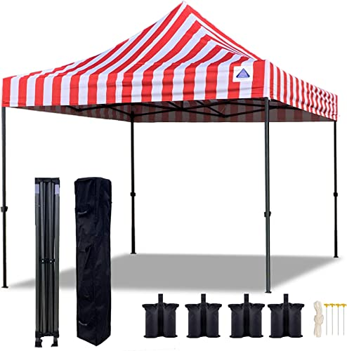 Delta Pop Up Canopy Tent EZ Commercial Instant Shelter w Wheel Bag 4 Sand Bags - 10 x10 Red Stripe D Model