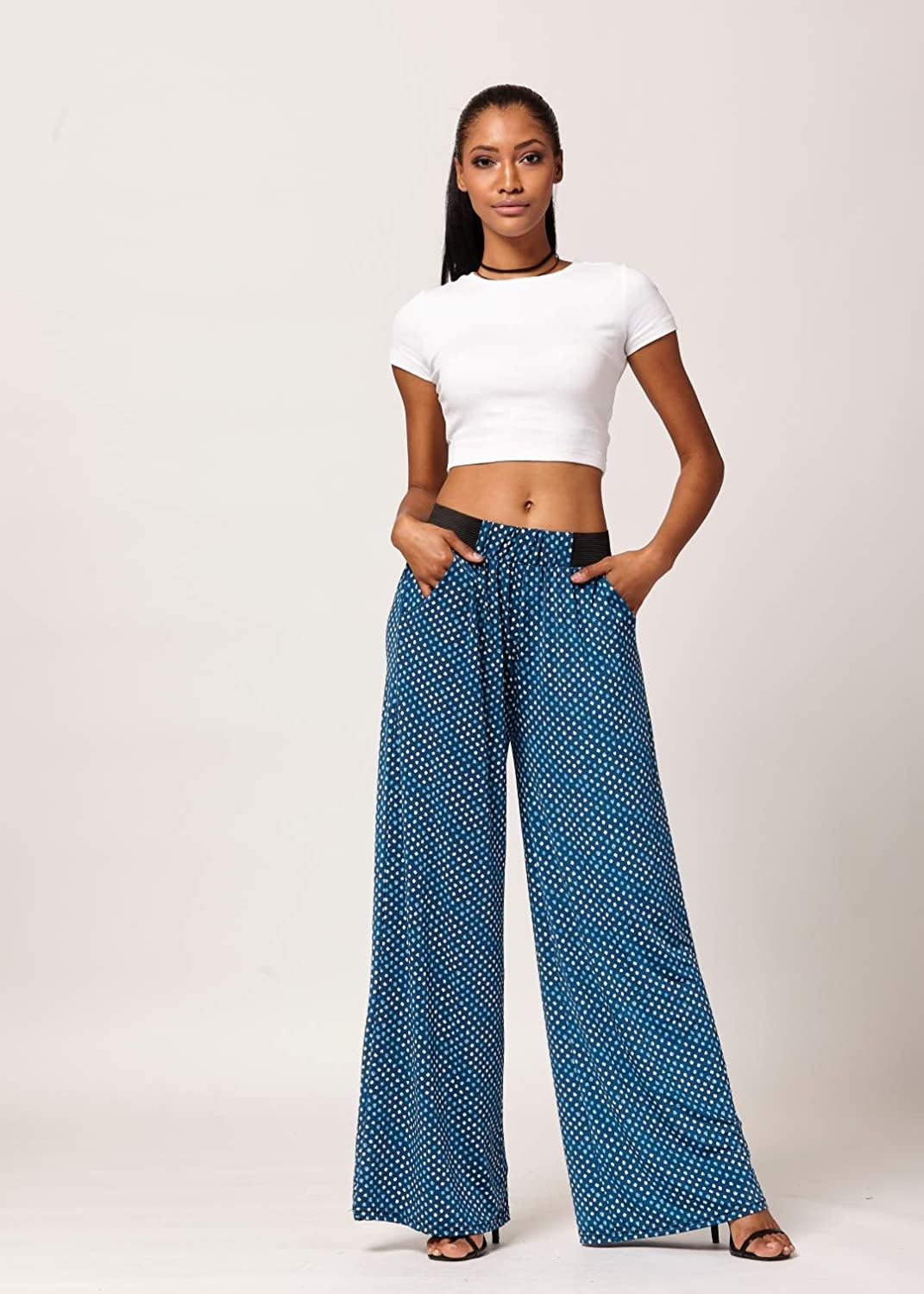 High Waist Conceited Premium Womens Palazzo Pants with Pockets Solid and Printed Designs