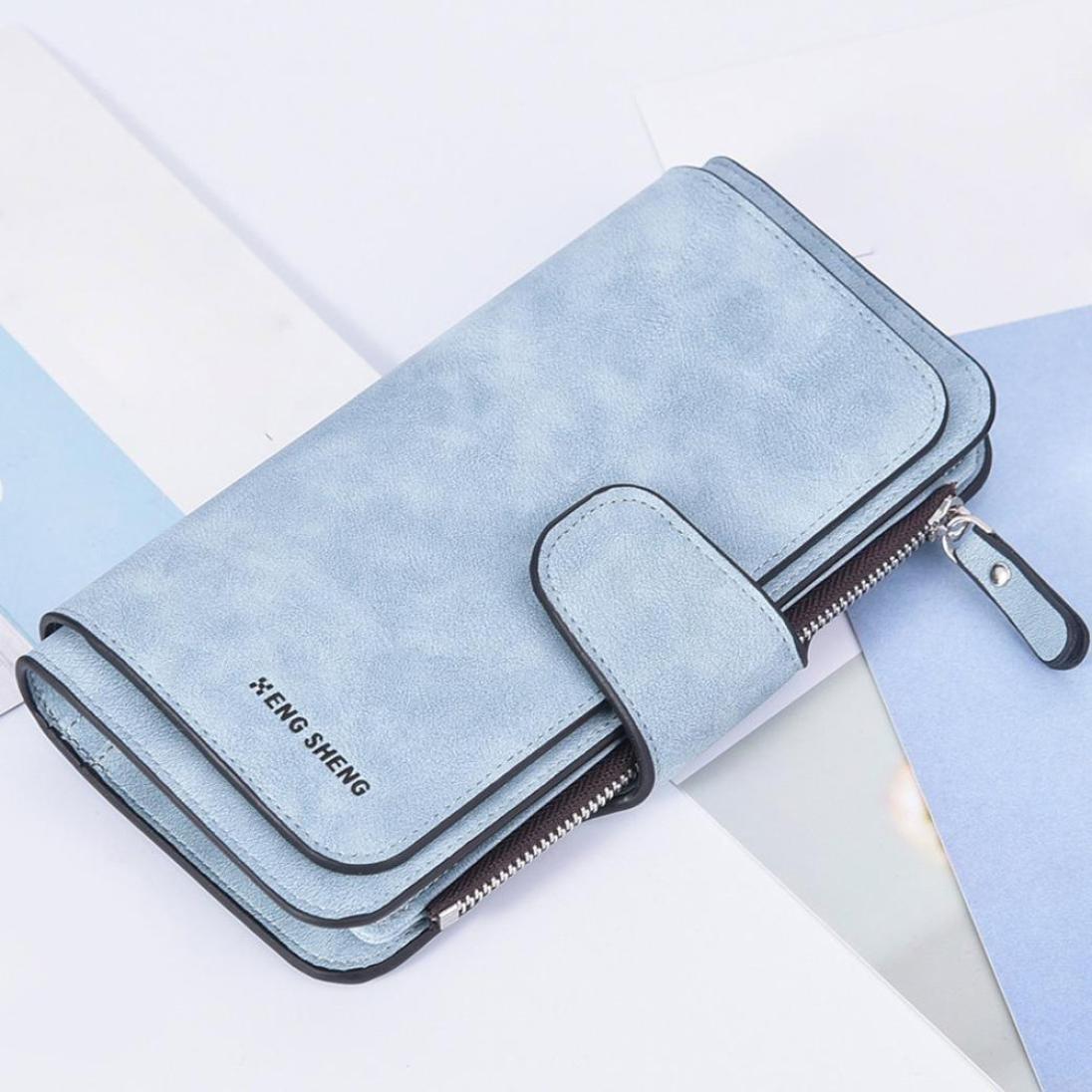 Cartera de mujer, RETUROM 2018 Bolso de la tarjeta de la carpeta de la posición de la tarjeta multi del cerrojo polaco sólido de las mujeres (Azul): ...