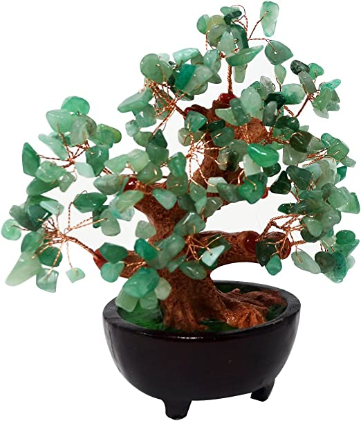 Amazon Com Feng Shui Natural Green Quartz Crystal Money Tree Bonsai Style Decoration For Wealth And Luck Hn130 Home Kitchen