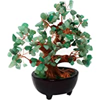 Feng Shui Natural Green Quartz Crystal Money Tree Bonsai Style Decoration for Wealth and Luck HN130
