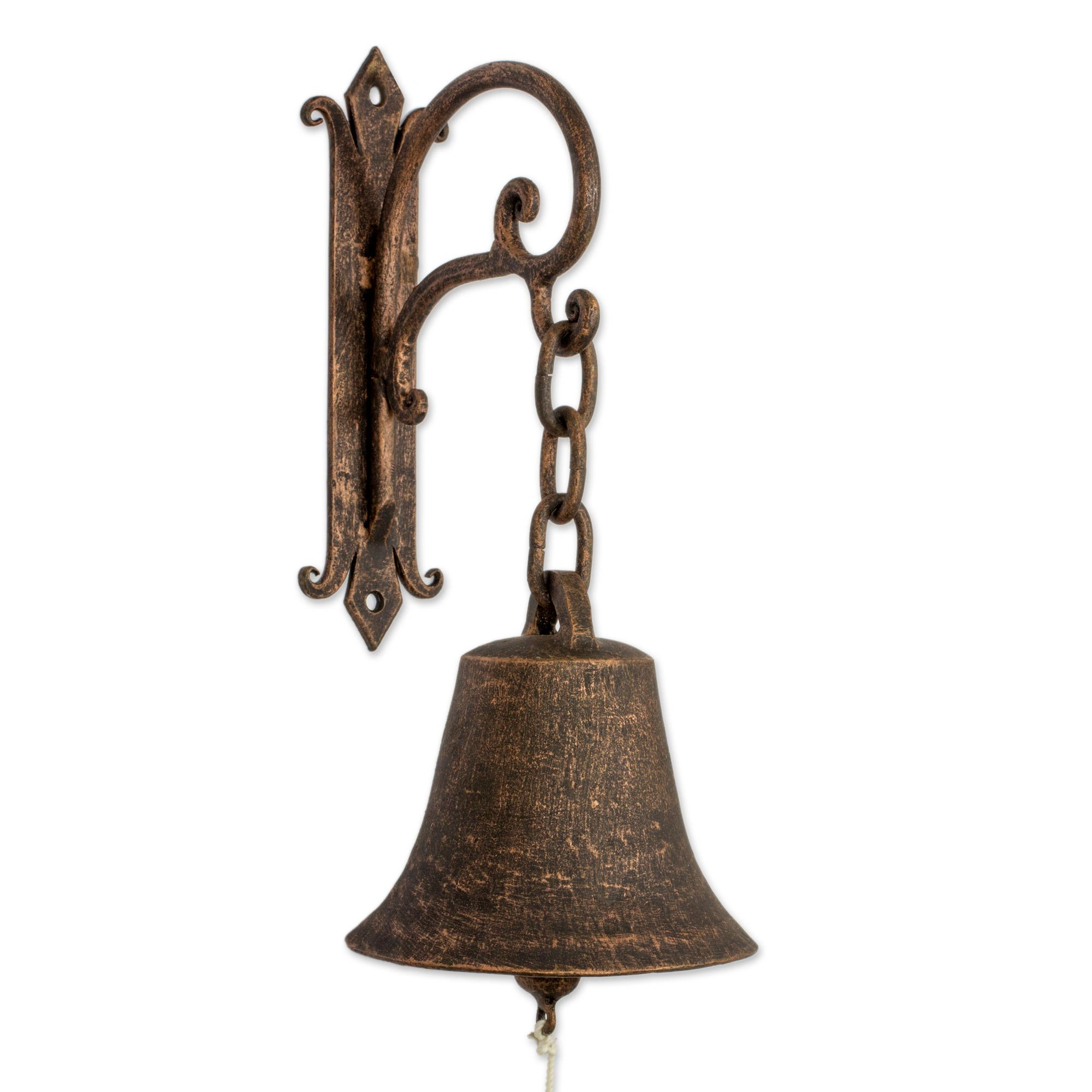 NOVICA Decorative Metal Cabinet Accessory, Brown, 'Bell Of San Francisco'