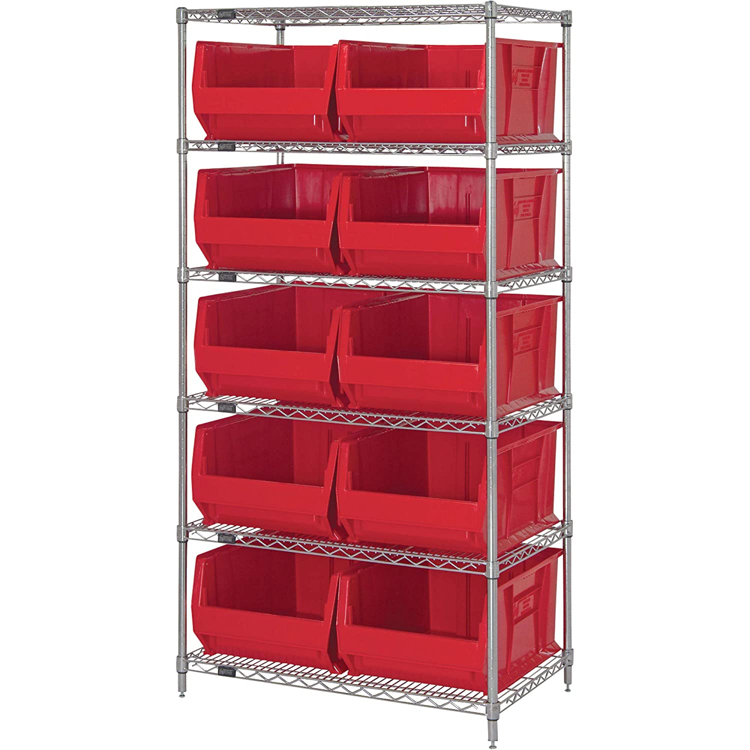 """B004HL234E Quantum Storage Systems WR6-974RD 6-Tier Complete Wire Shelving System with 10 QUS974 Red Hulk Bins, Chrome Finish, 30"""" Width x 36"""" Length x 74"""" Height 7118AbVJ7YL._SL1500_"""
