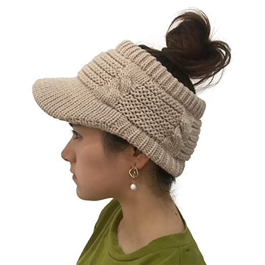 6a6b4953e5c95 XYIYI Women s Beanie Tail Cable Winter Warm Knit Messy High Bun Ponytail  Hat Visor Brim Cap