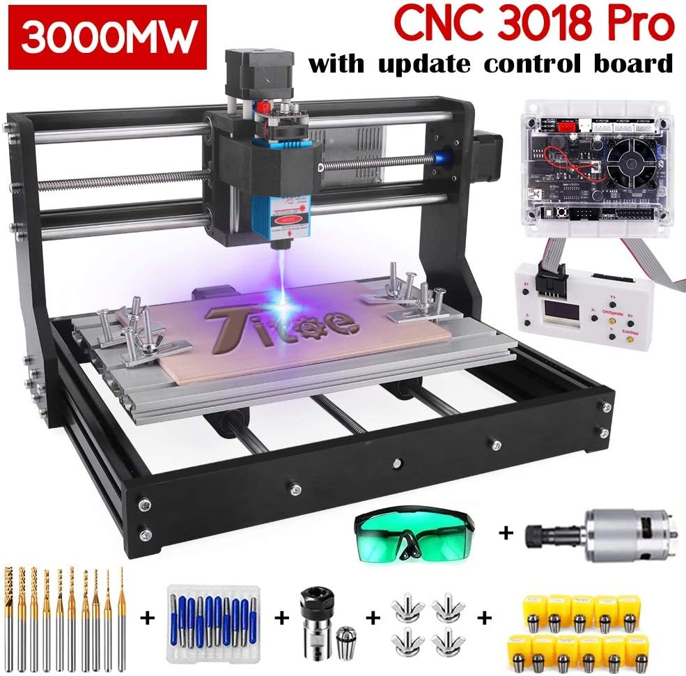 Upgrade Version 2 in 1 3000mW Laser Engraver CNC 3018 Pro GRBL Control DIY Mini CNC Machine, 3 Axis Wood Router Engraver with Offline Controller + CNC Router Bits + ER11 Extension Ro