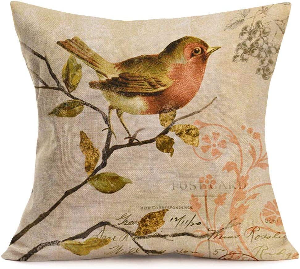 YUHANG 18 x 18 Inches Throw Pillow Covers Modern Vintage Bird Stand on The Tree Branch Painting Cotton Linen Decorative Pillow Cases Square Pillowcase