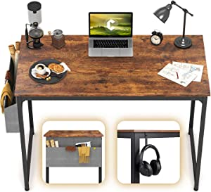 "CubiCubi Computer Desk 40"" Study Writing Table for Home Office, Industrial Simple Style PC Desk, Black Metal Frame, Rustic"