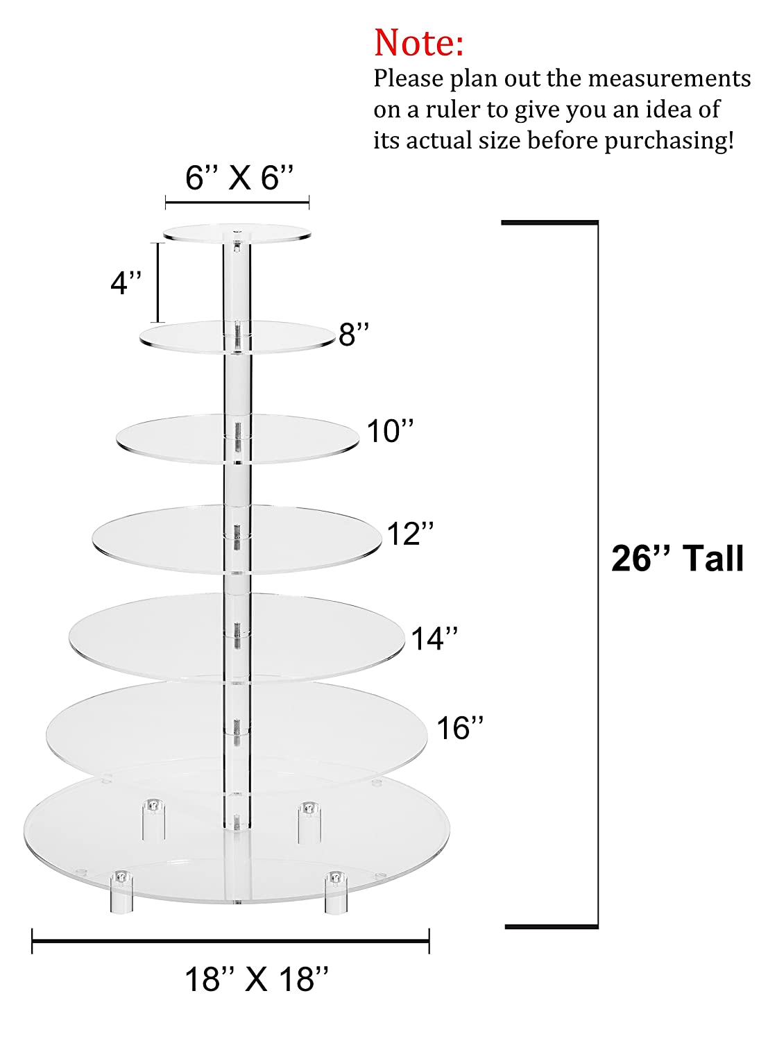 Amazon.com | Jusalpha Large 7-Tier Acrylic Round Wedding Cake Stand ...