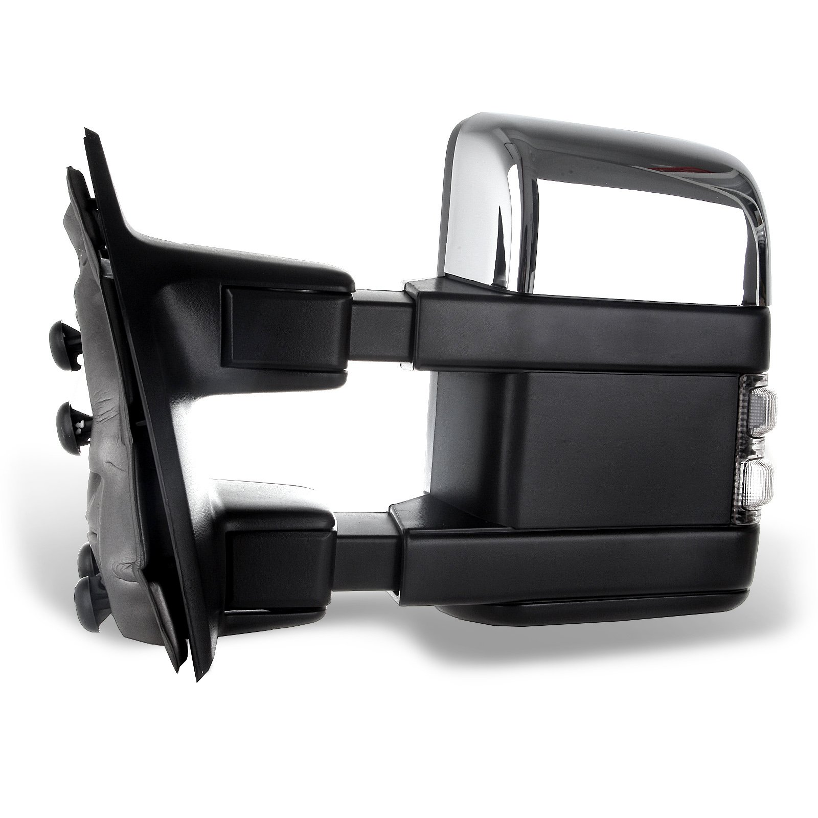 SCITOO fit Ford Towing Mirrors Chrome Rear View Mirrors fit 2008-2016 Ford F250 F350 F450 F550 Super Duty Truck Larger Glass Power Control, Heated Turn Signal Manual Extending Folding by SCITOO (Image #4)