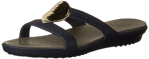 Crocs Women's Sanrah Embellished Sandal, Navy/Silver, ...