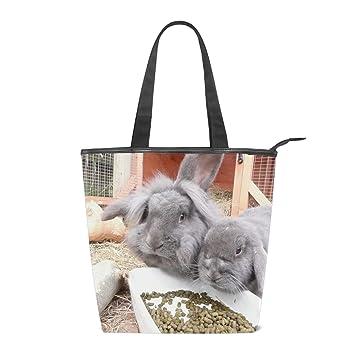9ca8a0a2a58a Amazon.com: Canvas Rabbit Eats Peanuts Tote Bag Zipper Closure ...
