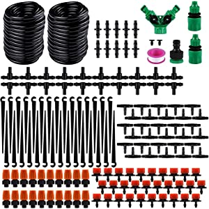 Freehawk DIY Drip Irrigation Kit Garden Irrigation System Saving Water Automatic Irrigation Set with 98ft Blank Distribution Hose for Lawn,Patio,Greenhouse,Mist Cooling (Irrigation System 98FT Tube)