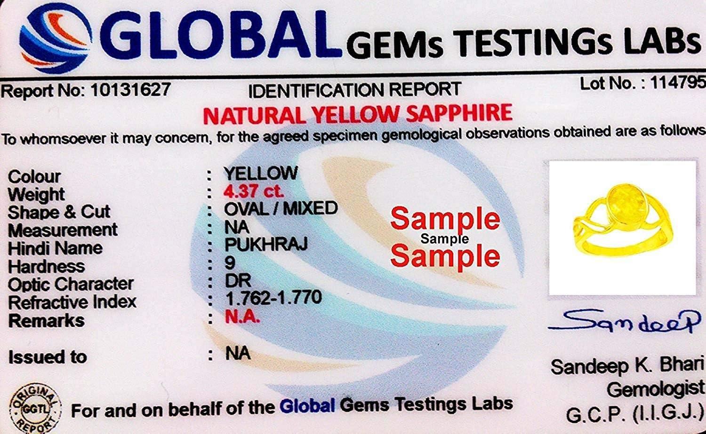 Arenaworld Certified Yellow Sapphire 3.80 Carat or 4.25 Ratti Pukhraj Stone Panchdhatu Astrology Ring Gold Polish for Men /& Women