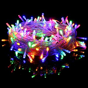 Fiee 98FT 200LED String Lights,30V 8Modes Twinkle Fairy Decoration LED Lights Waterproof with Memory Plug in for Christmas,Garden,Home,Outdoor,Indoor,Party,Patio,Wall Decorative (200LED, Multicolor)