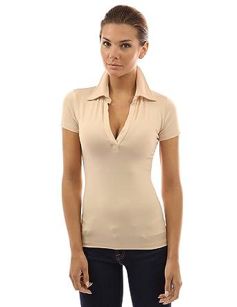 b6e0585a2 ... real pattyboutik womens v neck short sleeve polo shirt beige 99257 d18a8