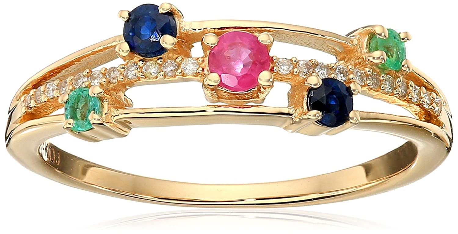 0.33 Carat Genuine Multi Gem 14K Yellow Gold Ring