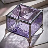 Personalized Purple Glass Box Decorative Vanity Display Case Storage Jewelry Organizer Keepsake Gift for Her Girl Women Purpl